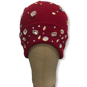 Embellished Crystal Bejeweled Red Beanie Hat